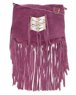 Maria Beaded & Fringed Crossbody Bag, Purple   Raj