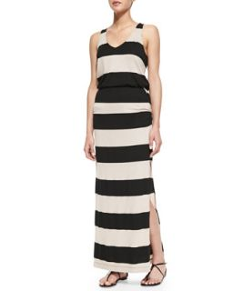 Womens Luna Lake Striped Maxi Dress, Almond/Black   Splendid   Brown (LARGE)