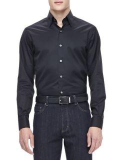 Mens 3 Ply Cotton Shirt, Black   Ermenegildo Zegna   Black (XXL)
