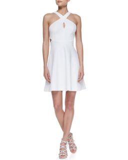 Womens Sleeveless Crisscross Halter Dress   Ali Ro   Optic white (10)