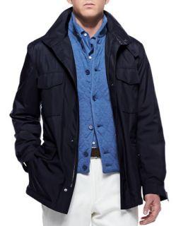 Mens Traveler Windmate Storm System Jacket, Navy   Loro Piana   Navy (52)