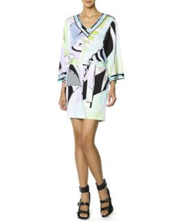 Womens Long Sleeve Printed Tie Belt Dress, Multicolor   Emilio Pucci