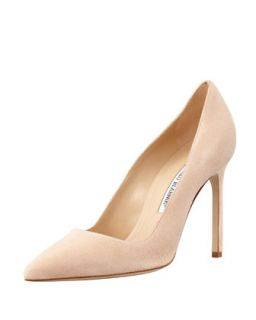 BB Suede 115mm Pump, Nude (Made to Order)   Manolo Blahnik   Nude (37.0B/7.0B)