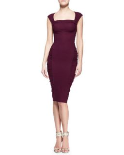 Womens Crushed Cap Sleeve Sheath Dress   Donna Karan   Berry (8)