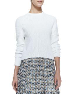 Womens Cropped Eyelet Long Sleeve Sweater   10 Crosby Derek Lam   Soft white