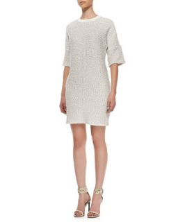 Womens Leather Trim Knit Dress   10 Crosby Derek Lam   Cream/White (8)