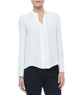 Womens Georgette Panel Silk Blouse, Ivory   Derek Lam   Ivory (44)