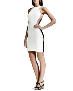 Womens Mesh Inset Colorblock Dress, White/Nude/Black   Stella McCartney