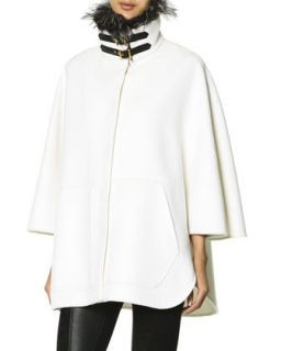 Womens Double Buckle Fur Trimmed Collar Coat, White   Emilio Pucci   Panna