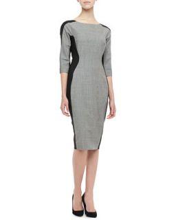 Womens Long Sleeve Side Panel Dress   Lela Rose   Gingham (gray) (8)