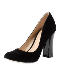Chelsea Suede Flared High Heel Pump, Black   Cole Haan   Black (36.0B/6.0B)
