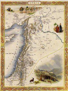 1800'S SYRIA ARAB CAMEL DAMASCUS JERUSALEM MAP LARGE VINTAGE POSTER REPRO   Syria Posters
