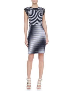 Womens Sheath Dress with Leather Cap Sleeves, Navy/White   Derek Lam