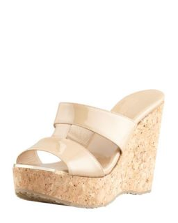 Porter Patent Leather Wedge Sandal, Nude   Jimmy Choo   Nude (41.0B/11.0B)