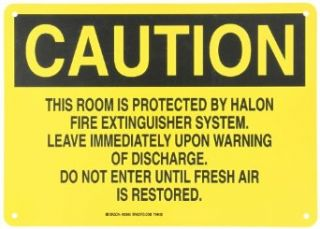 """Brady 25645 Plastic Fire Sign, 10"""" X 14"""", Legend """"This Room Is Protected By Halon Fire Extinguisher System Leave Immediately Upon Warning Of Discharge Do Not Enter Until Fresh Air Is Restored"""": Industrial Warning Signs: Industrial &"""