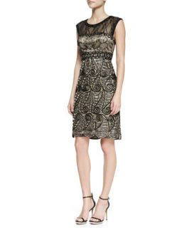 Womens Cap Sleeve Paisley Pattern Cocktail Dress, Black/Nude   Sue Wong