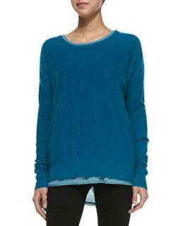Womens Long Sleeve Cashmere Sweater   Vince   Peacock (MEDIUM)