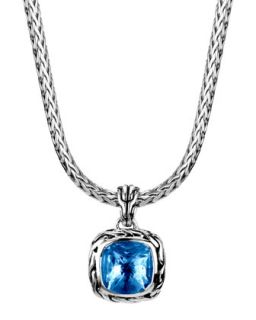 Batu Classic Chain London Blue Topaz Pendant Necklace, 16L   John Hardy   Blue