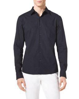 Mens Pindot Cotton Shirt   Michael Kors   Midnight (LARGE)