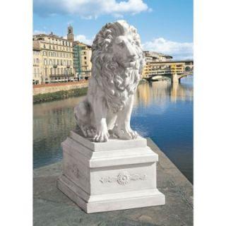 Design Toscano Lion of Florence Sentinel Garden Statue & Base   Garden Statues