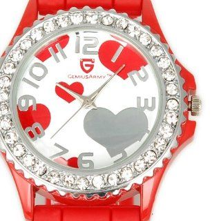 Red HOT Heart Shape Sweet Jelly SIlicon Soft Band Crystal Girl Lady Gift Wrist Watch: Electronics