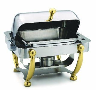 Alegacy AL530A Stainless Steel Savoir Half Size Dome Cover Chafing Dish with Brass Legs, 17 by 15 1/8 by 15 5/8 Inch: Kitchen & Dining