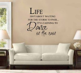 Life Isn't About Waiting for the Storm to Pass, It's Learning to Dance in the Rain Large Wall Decal Sticker Quote Home Decoration Decor