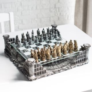 3D Roman Gladiator Pewter Chess Set   Chess Sets