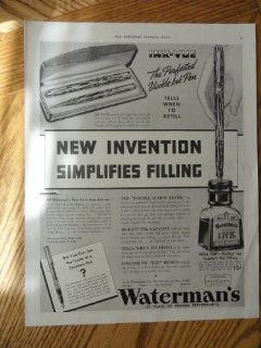 "Waterman's Pen and Ink, Print ad. 10 1/2""x13 1/2"" Illustration(new invention simplifies filling) Original Vintage 30's The Saturday Evening Post Magazine Illustration"