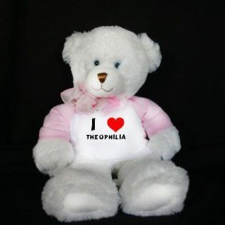 Plush White Teddy Bear (Dena) toy with I Love Theophilia (first name/surname/nickname): Toys & Games