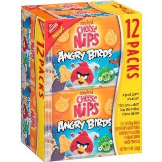 Nabisco Mini Cheese Nips Angry Birds Baked Snack Crackers, 1 oz, 12 count (Pack Of 2) : Packaged Snack Crackers : Grocery & Gourmet Food