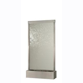 BluWorld Waterfall Grande Floor Fountain Brushed Stainless Steel Clear Glass   Fountains
