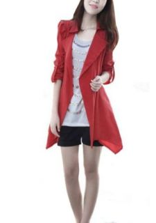 Zehui Womens Slim Long Windbreaker Jacket Parka Trench Coat Buttonless Collar Cardigan Red at  Women�s Clothing store