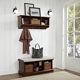 Crosley Brennan Entryway Storage Bench with Storage Shelf   Mahogany   Indoor Benches