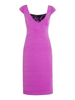 Alexon Violet ottoman & lace dress Pink