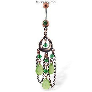 Belly button ring with dangling green antique looking chandelier: Jewelry Products: Jewelry