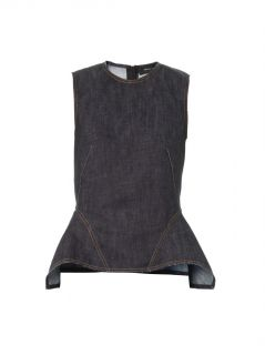 Denim sleeveless peplum top  Derek Lam