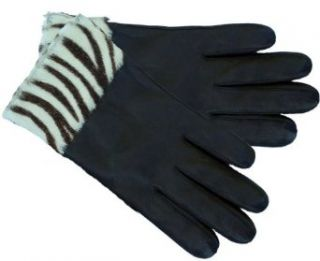 Wilsons Woman's Genuine Leather Gloves with Zebra Looking Cuffs X large : Cold Weather Gloves : Clothing