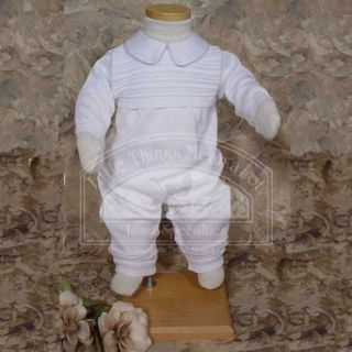 Baby Boys White Ribbed Knit Christening Baptism Outfit Suit 3 12M: Little Things Mean A Lot: Clothing