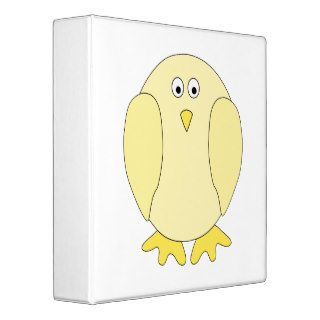 Cute Light Yellow Bird. Cartoon Chick. Vinyl Binders