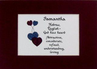 Personalized Name Meaning Samantha Wall Picture Keepsake Gift Made in the USA   Decorative Plaques