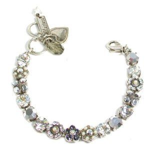 "Mariana Silver Plated ""Gardenia"" Collection Swarovski Crystal Flower Tennis Bracelet in Metallic Silver and Clear Crystals: Mariana: Jewelry"