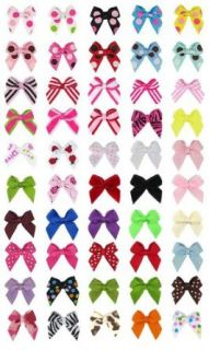 "Hip Girl Boutique No Clip Baby Ribbon Hair Bows Baby Shower Gift! (50pc 1"" Wide Grosgrain Mini Bows. Color Might Vary From Displayed): Clothing"