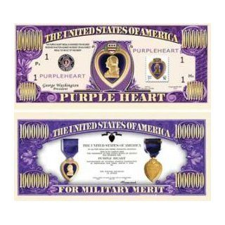 Set of 10 Bills Purple Heart Million Dollar Bill: Toys & Games
