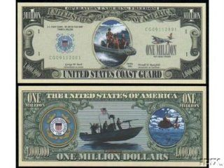 US COAST GUARD MILLION DOLLAR BILL (w/protector): Everything Else