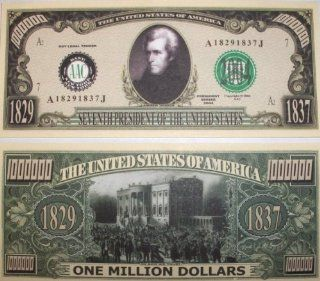 Set of 10 Bills Andrew Jackson Million Dollar Bill: Toys & Games
