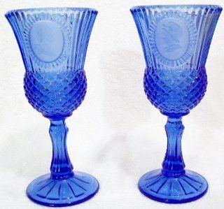 Vintage AVON Fostoria Cobalt Blue Glass Goblet Candleholders George & Martha Washington COLLECTIBLE Set of 2   Wine Glasses