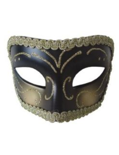 Scary Masks Medieval Opera Mask Gold Black Halloween Costume   Most Adults: Clothing