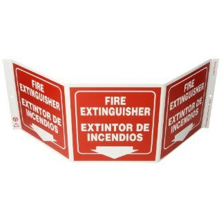 """Zing Eco Safety Tri View Sign, """"FIRE EXTINGUISHER/EXTINTOR DE INCENDIOS"""", 20"""" Width x 7 1/2"""" Length x 5"""" Depth, Recycled Plastic, White on Red (Pack of 1) Industrial Warning Signs Industrial & Scientific"""