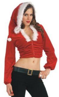 Forum Novelties Women's Sexy Mrs. Santa Claus Christmas Costume Crop Hoodie, Multi, Medium/Large Clothing